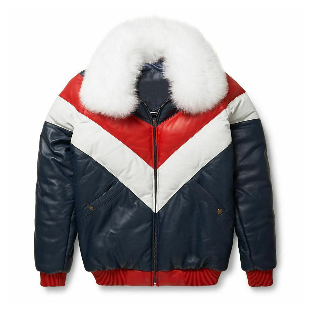 7953fad2ce5 Mens Bubble V Bomber Sheepskin Leather Jacket with Fox Fur Collar